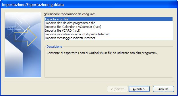 Importa file outlook
