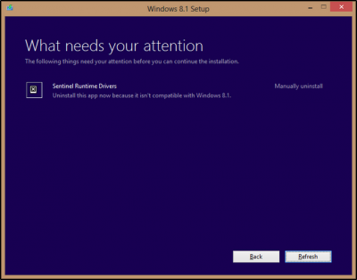 Windows 8.1 disinstallare sentinel runtime drivers