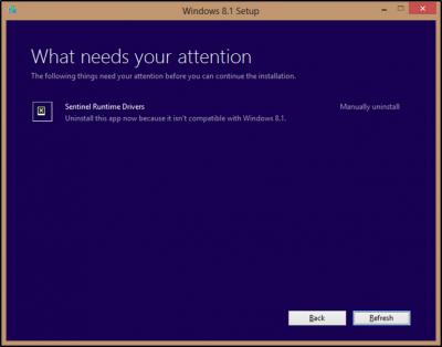 Windows 8.1 disinstallare sentinel runtime drivers