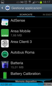 android applicazioni scaricate