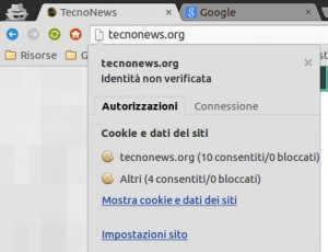 Verifica cookie e sicurezza chrome