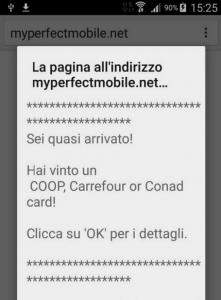 esempio di pubblicità truffa su android e spam