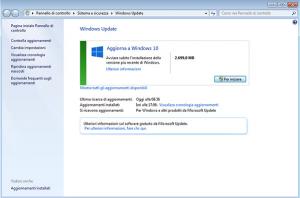 aggiornamento windows 10 da pannello di controllo