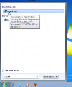 aprire regedit dal tasto start di windows 7