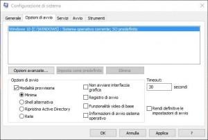 windows 10 opzioni di avvio msconfig per modalità provvisoria