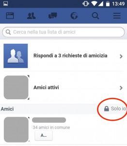 facebook privacy lista amici
