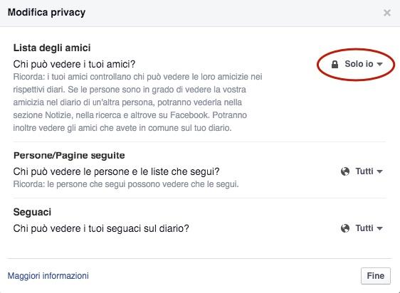 nascondere lista amici su facebook, non visualizzare lista amici